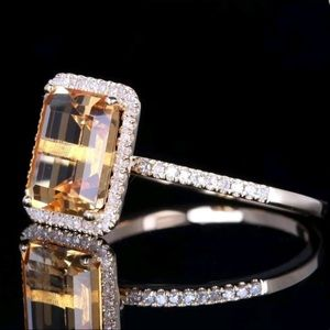 The Natural Yellow Citrine 925 SS Ring